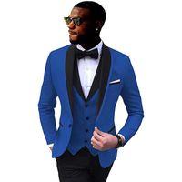 Mens Ternos Blazer Slim Fit 3 Peças Groomsmen Jaqueta Casaco Colete Calças Africano Smoking Casamento Formal Party Jackets Homem Terno 2020 W1217
