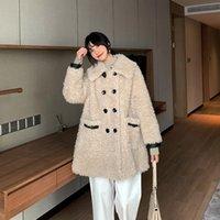 Cappotto femminile di pelliccia femminile Faux Cappotto Real 100% Giacca in lana Autunno Inverno Donne Vestiti 2021 Coreano Pecore vintage Shealring Top Zt4242