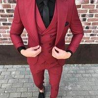 2020 Männer Red fallendem Revers Hochzeitsanzüge Abend-Partei-Abschlussball-Bräutigam nach Maß nehmen passende beiläufige Drei Stücke Bester Mann Smokings 766