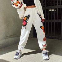 ВРЕМЕНА Белые Повседневный Сыпучие Тренировочные штаны Joggers высокой талией Sweatpants Женщины бабочки Печать Harajuku Длинные брюки ASPA80723 200930
