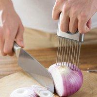 Edelstahl Zwiebelnadel Einsteckschneider Tender Fleischnadel Lose Werkzeug Zwiebel Slicer Handschutz Obst Gemüseschneidewerkzeuge