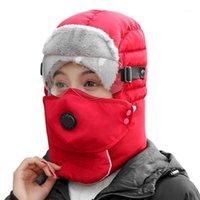 Chapéus ao ar livre inverno quente ushanka chapéu impermeável bombardeiro boné térmico de pele térmica com óculos de máscara facial para homens mulheres1