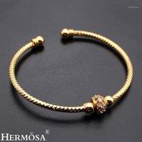 Bangle Hermosa Sorte Ouro Amarelo Ajustável 7.5-9 polegadas Abra o bracelete Perfeito Party Mostrar Jóias Linda Lady 1