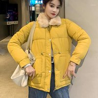 2020 Women Winter Short Jacket Mujer Hooded Parkas Winter Coat Women Loose Parka Fur Collar Cotton Padded Jackets#G301