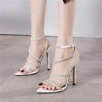 2021 BLING ELEGANT SHINESSE SHINESTONE FEMMES Sandales 12.5cm Talons hauts Boucle Boucle Boucle Gladiator Lady Pumps Stiletto Mariage Chaussures