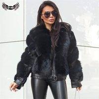 BFFUR Kış Moda Gerçek Fox Kürk Mantolar Kadınlar için Lokomotif Tarzı Hakiki Koyun Deri Ceket Doğal Fox Kürk Kadın 201214
