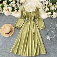 Oceanlove Puf Kol Vestidos Katı Kore Vintage A-Line 2021 Bahar Femme Cornes Kare Boyun Zarif Kadın Elbiseler 19498