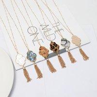 Flor hexágono abalone shell leopardo pingente colar borlas longa cadeia camisola colar moda geométrica jóias1