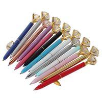 الفاخرة المعادن الكريستال الماس القلم 8 ألوان البولكا نقطة الكرة الأقلام الأزياء 19 قيراط كبير الماس حبر جاف القلم jllpql yummy_shop