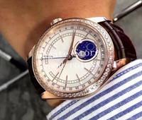 Relojes Hombres Rhinestone Diamond Bezel Rose Gold Mechanical 2813 Watch Men's Cellini 50535 Cuero Azul Esmalte Moon Pantalla 50605 Relojes de pulsera