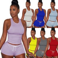 Sports Yoga Define Mulheres mangas de Split 2 Piece Set Casual Calças curtas Bodycon Sexy Outfit Sportswear Suit