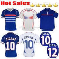 2000 1998 2006 F Retro Vintage Soccer Jersey Trézéguet 10 Rance Zidane # 12 Henry Maillot deley 98 06 Ribery Trezeguet Camicia da calcio