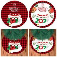 Falda del árbol de Navidad Año Nuevo 90CM personalizada Sobrevivir patrón del árbol de familia en regalos de Navidad de fondo Decoración Pad DDA670