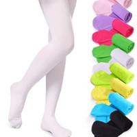 Ücretsiz DHL 19 Renkler Kız Külotlu Çorap Tayt Kalite Çocuklar Dans Çorap Şeker Renk Çocuk Kadife Elastik Legging Giysileri Bebek Bale Çorap