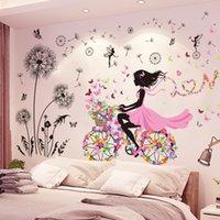 [Shijuekongjian] Negro Diente de león Flores Pegatinas de pared DIY Chica Mural Calcomanías para la sala de estar de la casa Decoración de dormitorio para niños 201106