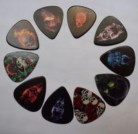 10 adet Kafatası Tasarım Selüloid Gitar Tutucu ile Metal Pick Tutucu Kutusu Şükran Günü Hediye Için