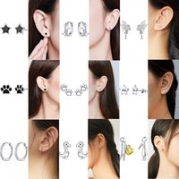WOSTU Hot Sale Earring Authentic 925 Sterling Silver Clear Silver Stars Hoop Earring For Women Fashion Jewelry Gift DAE076
