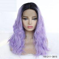 Full Synthetic Front Front Wig Simulação Humano Cabelo Lacfront Perucas 14 ~ 26 polegadas Preto roxo Ombre Cor 181211-3815