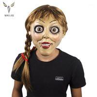 Wayipply Halloween Annabelle Cosplay Mask Latex Cosplay Хэллоуин страшный фильм Взрослый полный голову Латексные парики Ponytails Party Mask1