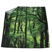 Tecido impermeável banheiro painel de cortina de cortina pura com ganchos, madeira verde1
