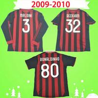 2009 2010 Retro Soccer Jersey Vintage Football Shirt 09 10 Classic AC Maglia da Calcio Manga larga Maldini Seedorf Milan Beckham Ronaldinho