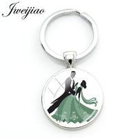 Jweijiao Romantik Çiftler Waltz Şekil Anahtarlık Dans Tango Dansçısı Siluet Zinciri Anahtarlık Çanta Anahtar kolye Özel Ds39