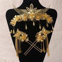 Alaşım Saç Sopa Gelin Headdress Kostüm Takım Elbise Çin Saç Süsler Ejderha Ve Phoenix Coronet Düğün Saç Takı Y200409