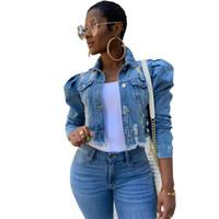 S-5XL Femmes Denim Vestes Streetwear Hip Hop Vintage recadrée court Jean Manteau Tendance manches bouffantes Slim Jeans Veste 3 Ripped Couleurs F92201