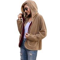النساء معطف الصوف جاكيتات الشتاء الدافئ طويل الأكمام المفتوحة الجبهة مقنعين مع جيوب الديكور بلون الصوف النسيج الصوف