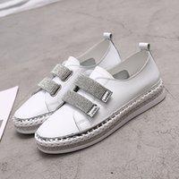 Yu Kube Kristal Hakiki Deri Sneakers Loafer'lar Ayakkabı Hookloop Kadın Platformu Flats Bayanlar Beyaz Yürüyüş Ayakkabıları 201013