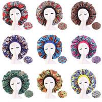 Yeni Taklit Saten Çizgili bereleri Moda kadın Büyük Boyut Afrikalı model baskı İpek kaput Gece Uyku Şapka Dalga Saç aksesuarları Caps