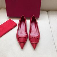 LIVRAISON GRATUITE Matte Véritable Cuir Femme Sandaux Sandales Point Toe Boucles Dames Sexy Party Chaussures Plat 4cm 7cm High High Heels Shoes Boîte