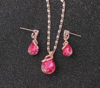 Jóias de luxo Define presentes colar de casamento pingente Brinco de aniversário da gota da água de cristal jóias conjuntos