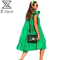 Z-ZOUX Женские платье с коротким рукавом плиссированные длинные платья мода богемное платье сплошные свободные летние платья плюс размер белый черный новый H1210