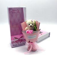 جميل الدب الصابون متعدد الألوان زهرة مع هدايا مربع حزمة واحدة الأزرق روز المعلمين الزفاف عيد الحب هدية عيد الساخن بيع 5QQ J2