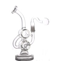 8 inchs glass Recycler Oil Rigs Heady Glass Water Bongs Doub...