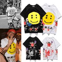 marca na moda Kanye mesmo parágrafo smiley face multi-elemento tridimensional T-shirt de manga curta impresso