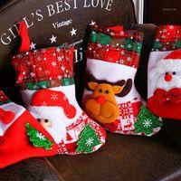 Рождественские украшения Год вечеринки Chrsitmas Санта-Клаус подарочные сумки чулок Детский держатель рождественских деревьев висит украшения AF0251