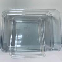 bandeja de armazenamento PC transparente retangular bacia selecção cozinha pia vegetal plástico armário de exposição caixa doméstico transparente prato