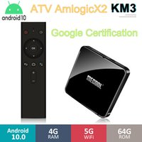 MECOOL KM3 TV 박스 안드로이드 (10) ATV Androidtv Google 인증 Amlogic S905X2 4기가바이트 32기가바이트 4K 5G 듀얼 와이파이 미디어 플레이어 VS KM1