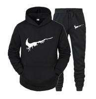 Vente chaude Mens Sports Costumes Sweatshirt Sweatshirt Hoodies + Pantalon Set Sweat-shirt Homme Pullover Femmes Sport Suivre Suivre 02