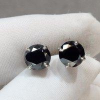 Stud 18k Branco Ouro 1 Carat D Cor Diamond Teste passado preto Moissanite Brincos Brilhante Corte 2 CT Gemstone 4 Pinos
