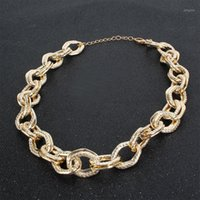 المختنقون الذهبي قلادة المختنق الذهب سلسلة بيان سيدة حزب مجوهرات النساء الملحقات المبالغة القلائد QB-781