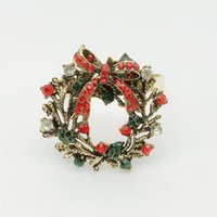 Christmas Napkin Rings Metal Napkin Holder Ring Buckles with Rhinestones for Table Decorations Christmas Banquet Holiday