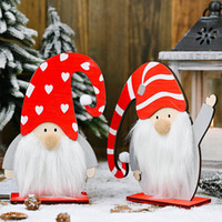 2020 Christmas Wooden Long Curved Hat Old Man's Ornament Table Top Ornament Wood Forest Old Man Ornament Xmas Decoration HH9-3342