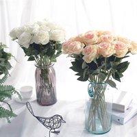 Dekoracyjne kwiaty wieńce Yumai 10pcs / zestaw czerwona róża jedwabiu sztuczne bukiety różowe białe róże szampana pakiet na wesele Party Centerpie