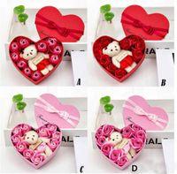 Yeni 2020 Sevgililer Günü Çiçekler Sabun Çiçek Hediye Gül Kutusu Bears Buket Düğün Dekorasyon Hediye Festivali Kalp şeklinde Kutu HH9-3545