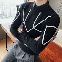 Contraste blanc bande Pull Fake Fancy Pull Homme Marque Slim Fit chic à la mode Gebreide Trui Desinger Hight Necksweater Hommes