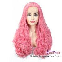 Parrucca anteriore del pizzo sintetico ondulato bouncy squisita mano legata 13x2 parrucca naturale resistente al calore in pizzo svizzero Pink Glueless parrucca frontale per le donne