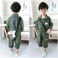 الأطفال بذلة طفل الفتيان الفتيات الربيع الخريف رومبير الأدوات ملابس الطفل الطفل الأزياء العصرية الجيش الأخضر الملابس مجموعات 2-7 Y T200526